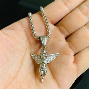 Stainless Steel Hip Hop Angel Pendat w/ Rope Chain